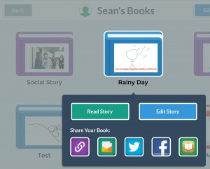 Tap on any book in your My Story library to read, edit, or share the story. Sharing options include uploading to the My Story website and sharing the link via email, sharing to social media, or exporting to iBooks on the device.